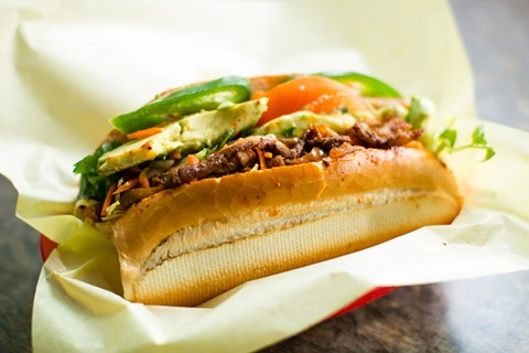 Saigon Deli Sandwich & Taco Valparaiso may be the only place in the Bay Area where you can eat al pastor-style pork not just on a taco, but also inside a crunchy banh mi - BERT JOHNSON