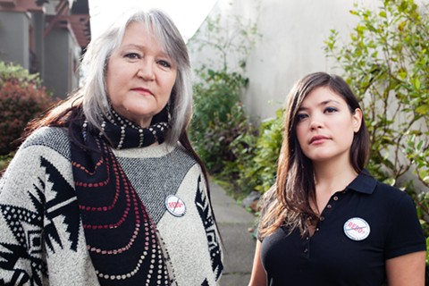 """Pennie Opal Plant (left) and Ayse Gürsöz both chanted """"No REDD"""" at Governor Brown in Paris last month. - BERT JOHNSON"""