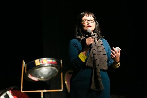 Hiroko Kurihara at the latest Downtown Specific Plan community meeting. - BERT JOHNSON