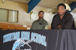 Ray McDonald, right, spoke to Tennyson High School students about self-discipline even though he is going on trial for sexual assault. - HAYWARD UNIFIED FACEBOOK PAGE