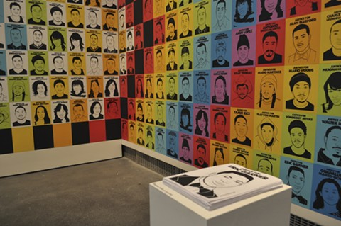 """Oree Originol's site-specific installation of his ongoing """"Justice For Our Lives"""" series in Take This Hammer. - JOHN CARTWRIGHT"""