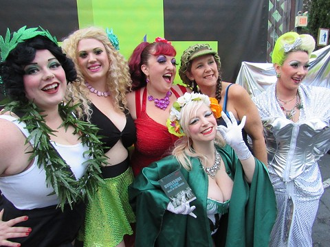 Entertainers from Red Hots Burlesque at a San Francisco medical cannabis event. - DAVID DOWNS