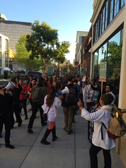 Over 110 protesters converged on Calavera for this demonstration. - JENNY HUANG/ BARWM