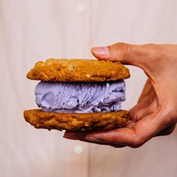 Ube ice cream on a coconut almond chip cookie, at Cookiebar (via Facebook).