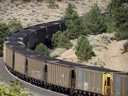 A Union Pacific train laden with coal passing through the Sierra Nevada foothills toward the Bay Area in August 2015. - TOM ANDERSON