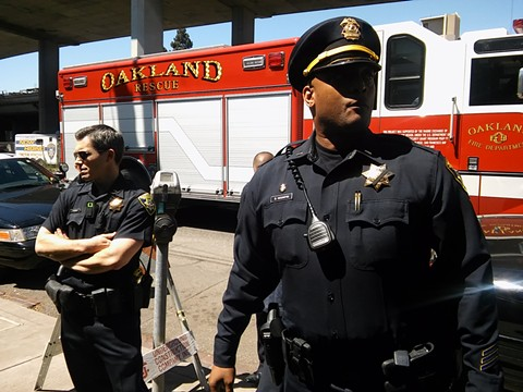 Oakland police Lieutenant Bobby Hookfin supervising officers who responded to the protest.