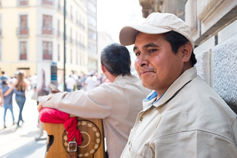 "Jose Adan Garcia Canales works nearly every day in Mexico City's central square. And, despite living thousands of miles from the United States, he knows enough to call Trump's ideas ""radical."" - ALL PHOTOS BY BERT JOHNSON."