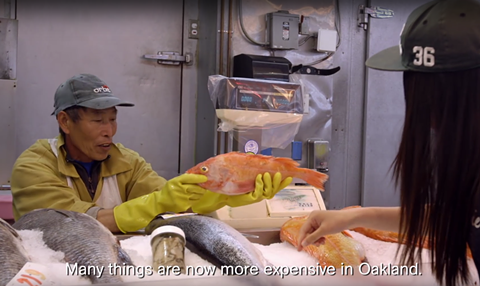 """SCREENSHOT FROM A COMMERCIAL PRODUCED BY THE """"NO OAKLAND GROCERY TAX"""" CAMPAIGN."""
