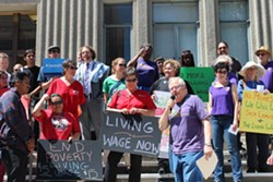 Members of the Berkeley for Working Families coalition outside Berkeley City Hall in April. - COURTESY OF SEIU 1021
