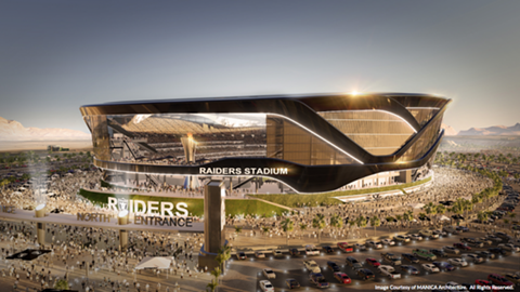 Images of a possible Raiders dome stadium in Las Vegas.