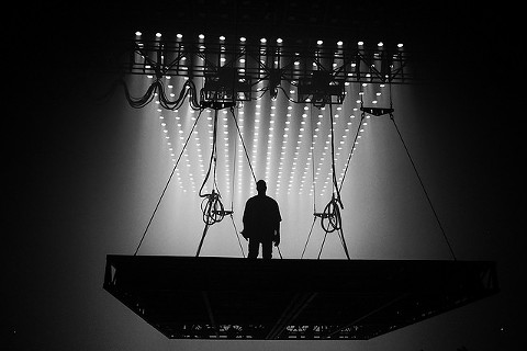 Kanye West floats above the audience on his St. Pablo-mobile. - KENNY SUN/FLICKR