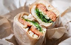 Aunt Malai's Deep-Fried Lao Sausage Sandwich. - BERT JOHNSON/FILE PHOTO