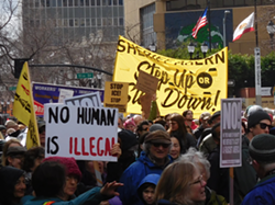 Several hundred protesters marched to the sheriff's offices today in Oakland.