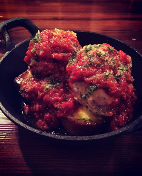 The open-face meatball sandwich at Old Kan. - INSTAGRAM @OLDKANBEER