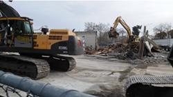 Demolition at the Hollis Street construction site.
