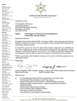 Letter from the California State Sheriffs Association supporting Jeff Sessions nomination to be Attorney General.