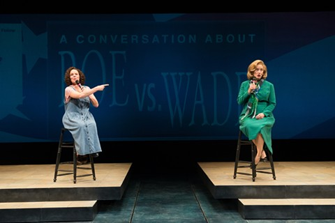 "Sara Bruner ( Plaintiff ""Jane Roe,"" or Norma McCorvey (played by Sara Bruner) and her attorney Sarah Weddington (Sarah Jane Agnew) in Roe. - JENNY GRAHAM"