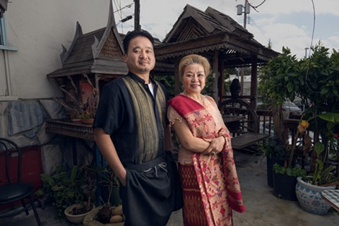 Saeng Xayavong (left), Dara's Thai/Lao in Berkeley's current lead cook, with his mother, Daovone Xayavong. - LANCE YAMAMOTO