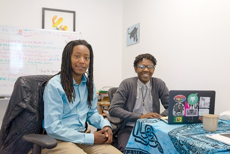 Lanese Martin (left) and Ebele Ifedigbo at their Hood Incubator office in downtown Oakland. - PHOTO BY GEORGE BAKER JR