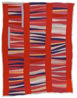 """Jessie T. Pettway, """"Bars and String-Pieced Columns,"""" 1950s. Cotton, 95 x 76 in. - IMAGE COURTESY OF THE FINE ARTS MUSEUMS OF SAN FRANCISCO"""