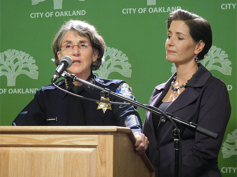 Oakland Police Chief Anne Kirkpatrick and Mayor Libby Schaaf. - DARWIN BONDGRAHAM