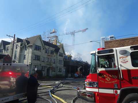 Crews from Alameda County and Berkeley assisted the Oakland Fire Department in battling the blaze. - DARWIN BONDGRAHAM