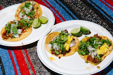 Classic street tacos on Telegraph at Tacos El Último Baile. - ANDRIA LO