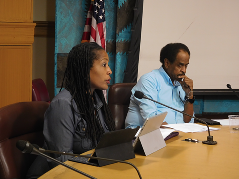 Councilmembers Lynette Gibson McElhaney and Larry Reid at today's hearing.