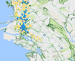 A station map at FordGoBike.com show dozens of stops throughout the East Bay flatlands, from Berkeley to the Fruitvale, but none in Deep East Oakland.