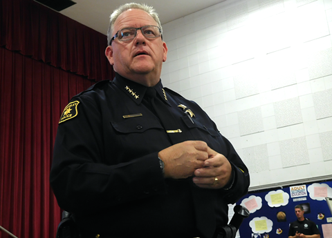 Berkeley Police Chief Andrew Greenwood at last night's forum.