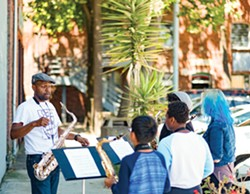 Howard Wiley (left) instructs students at the East Bay Center for the Performing Arts in Richmond. - PHOTO BY DARRYL BARNES