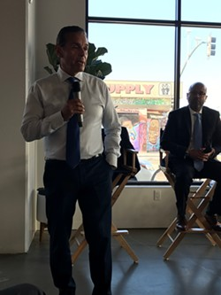 Antonio Villaraigosa at Tertulia Coffee with Tim Sanchez, who moderated the event