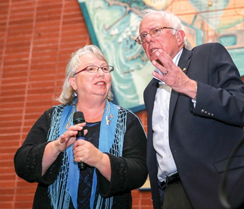 McLaughlin with progressive firebrand Sen. Bernie Sanders in 2014.
