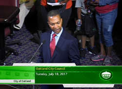 Minister Keith Muhammad of Oakland Mosque No. 26 spoke at a city council meeting last month about the threats against his place of worship.