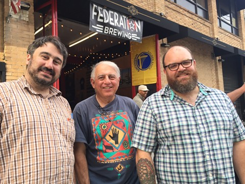 Federation Brewing Co. owners Aram Cretan, Larry Cretan, and Matt Hunter, outside their new Jack London Square brewhouse and taproom. - NICK MILLER