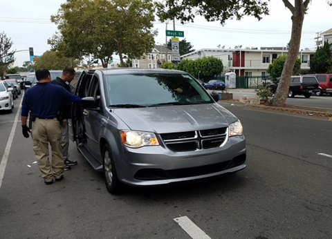 Homeland Security Investigations agents arrest an individual in Oakland today. - DAVE ID VIA TWITTER