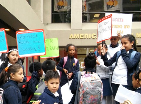 Students have been protesting at AIMS charter schools. - PHOTO BY DARWIN BONDGRAHAM