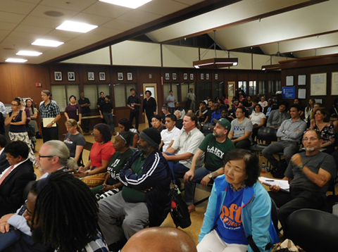 Dozens of students, faculty, staff and community members turned out to address Peralta's board about the A's plan.