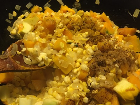 The makings of chicken soup with pumpkin and corn in the Hella Latina kitchen. - PHOTO COURTESY OF LEO ORLEANS