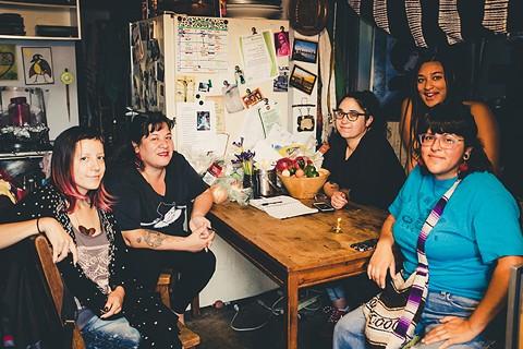 Activists (L-R) Ibalu Alba, Needa Bee, Bel La, Joyous DeAsis, and Martha Valadez may create a Village in East Oakland. - PHOTO BY DARRYL BARNES