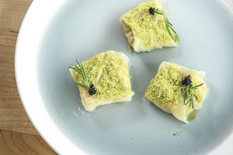 The shrimp-scallop dumplings uphold the promise of artistic food.