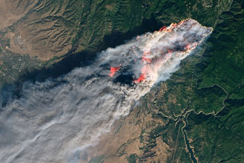 Satellite image of the Camp Fire in Butte County last November.