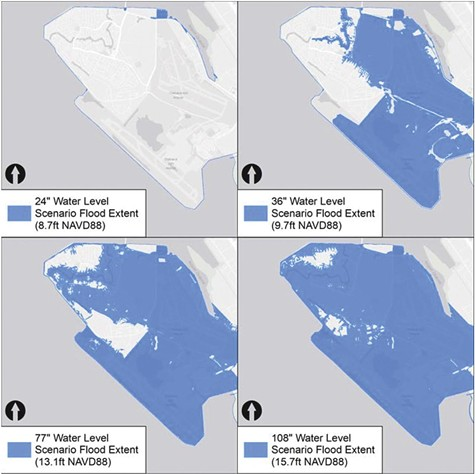 36-inch sea level increase threatens parts of the island of Alameda, but innundates most of Bay Farm.