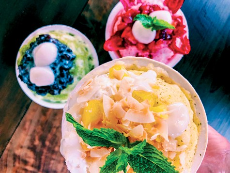 At Always Aloha, the freshly shaved ice is patted into a light, airy snowball.
