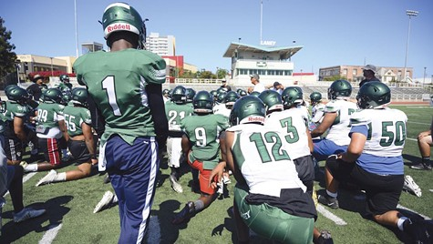 The 2019 Laney College Eagles football team at a recent practice.