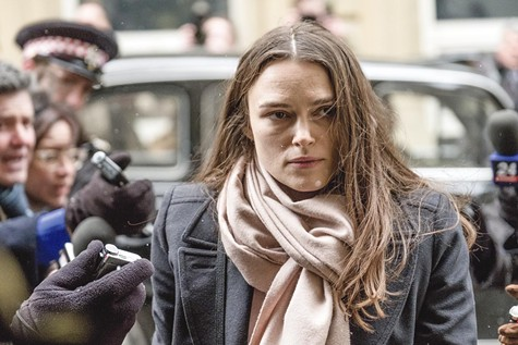Keira Knightley does the perp walk in Official Secrets.
