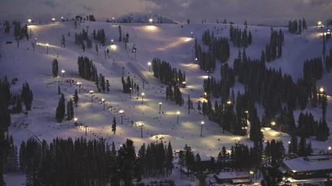 Night skiing and boarding at Boreal Mountain Resort.