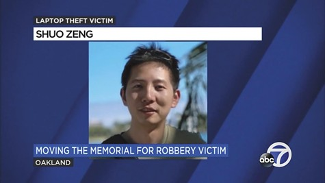 Shuo Zeng was killed when he fought to keep his laptop computer from being stolen.