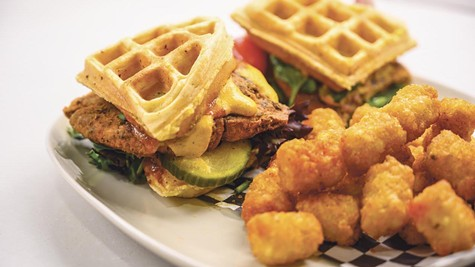 Gay4U adds fun to dishes like the Lucid Dream Chicken & Waffle Burger.