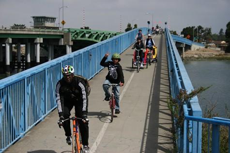 George leading the group over the bike bridge in Alameda.